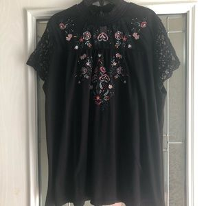 Time And Tru Black Embroidered High Neck Top